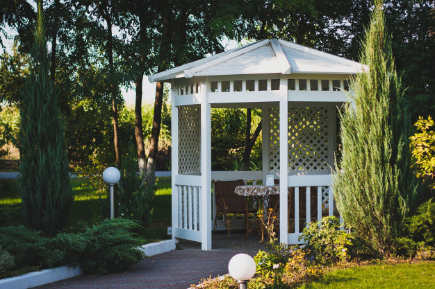 This image is of gazebo with private table.